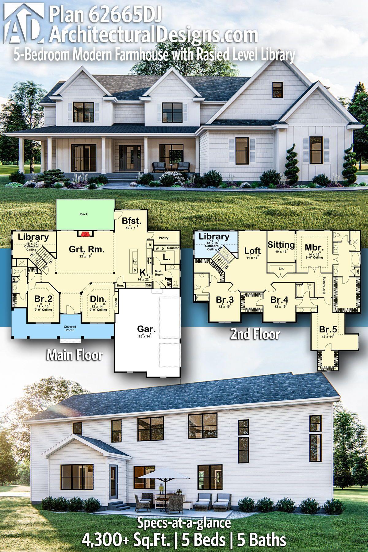 Plan 62665dj 5 Bedroom Modern Farmhouse Plan En 2020 Planos De Casas Grandes Planos De Casas Casas Grandes