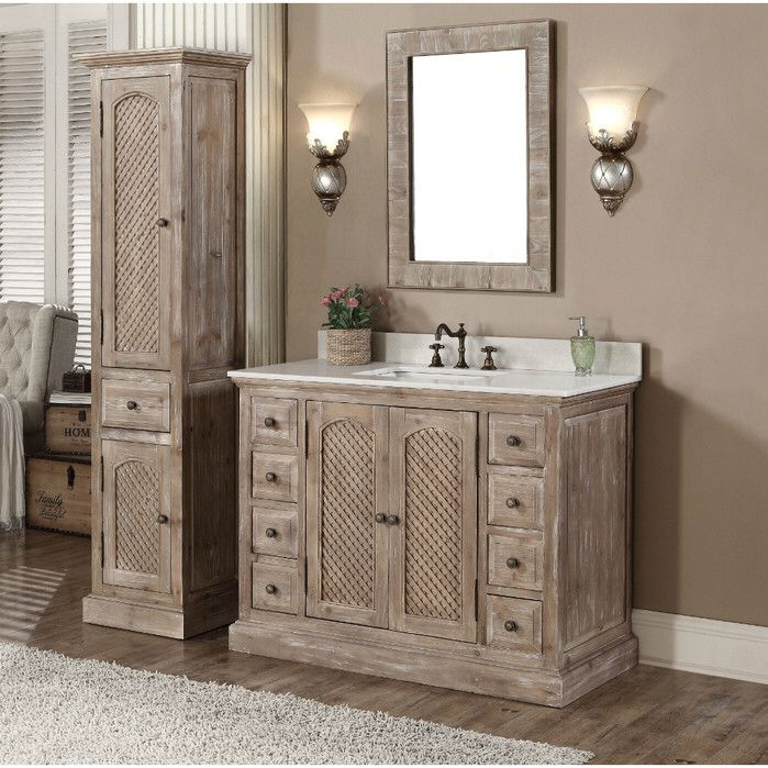 Infurniture Rustic Style Matte Ash Grey Limestone Top Bathroom Vanity with  Matching Wall Mirror and Linen Tower (Rustic Style 48 inch Vanity WK Set,  ...