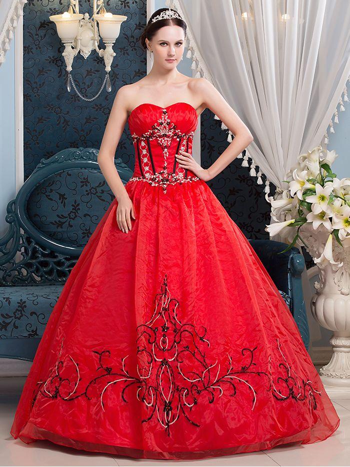 Click to Buy << vestidos de noiva 2017 New Ball Gown Red Black ...