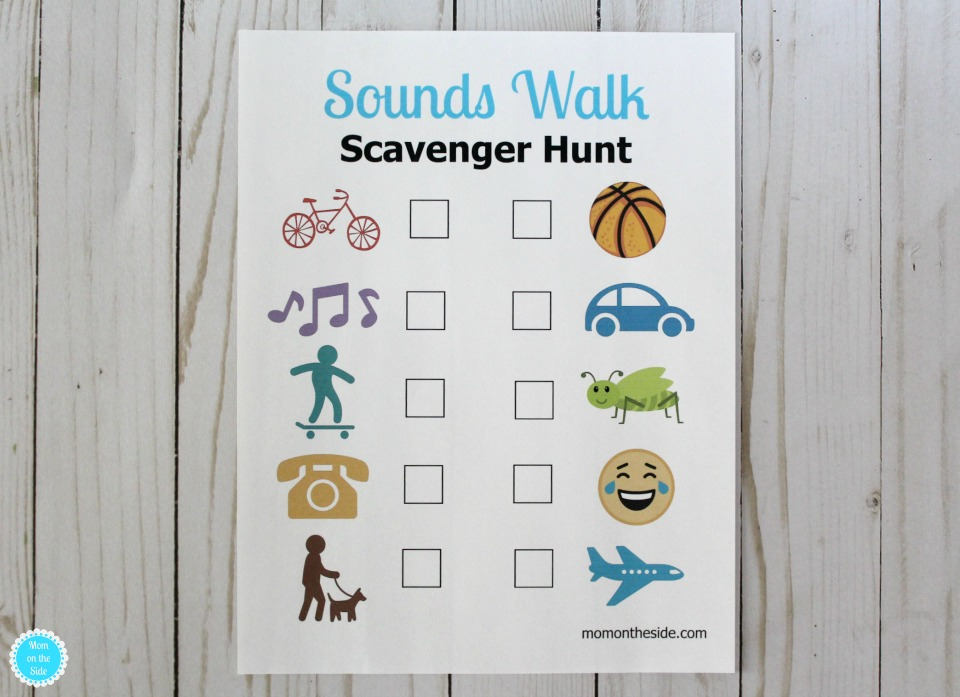 Printable Sounds Walk Scavenger Hunt Clues for Kids in