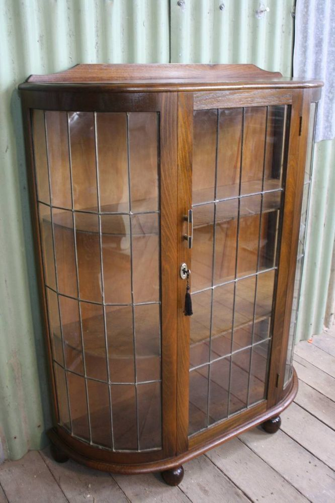 An Oak Art Deco Leadlight Display Cabinet Demi Lume Crystal