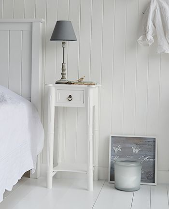 New England White Bedside Table With One Drawer And Shelf And