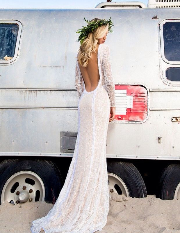 6dc88564c0 Wedding in the road Boho Wedding Dress Backless, Bohemian Beach Wedding  Dress, Boho Beach