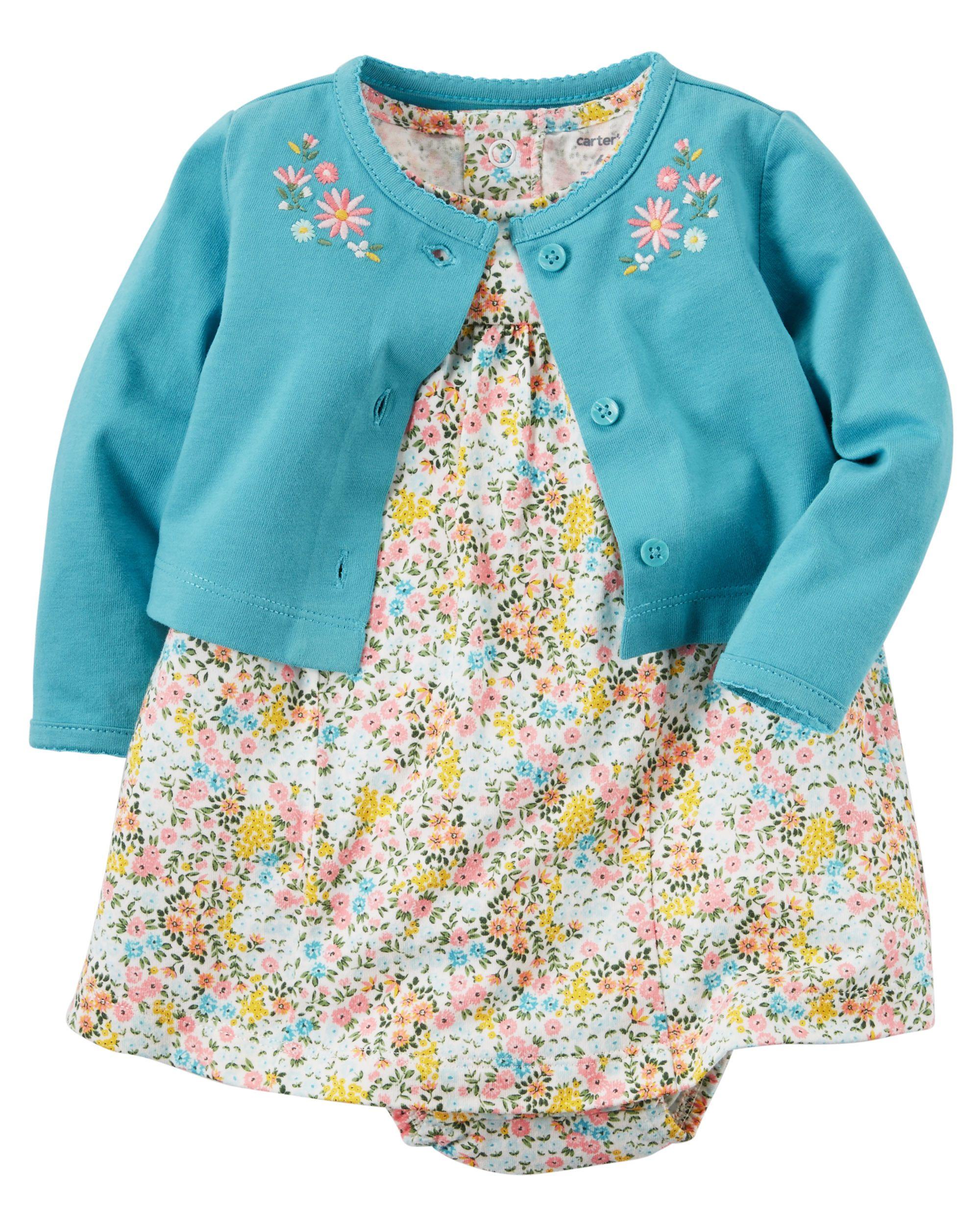 32cc66ebb Baby Girl 2-Piece Bodysuit Dress   Cardigan Set from Carters.com ...
