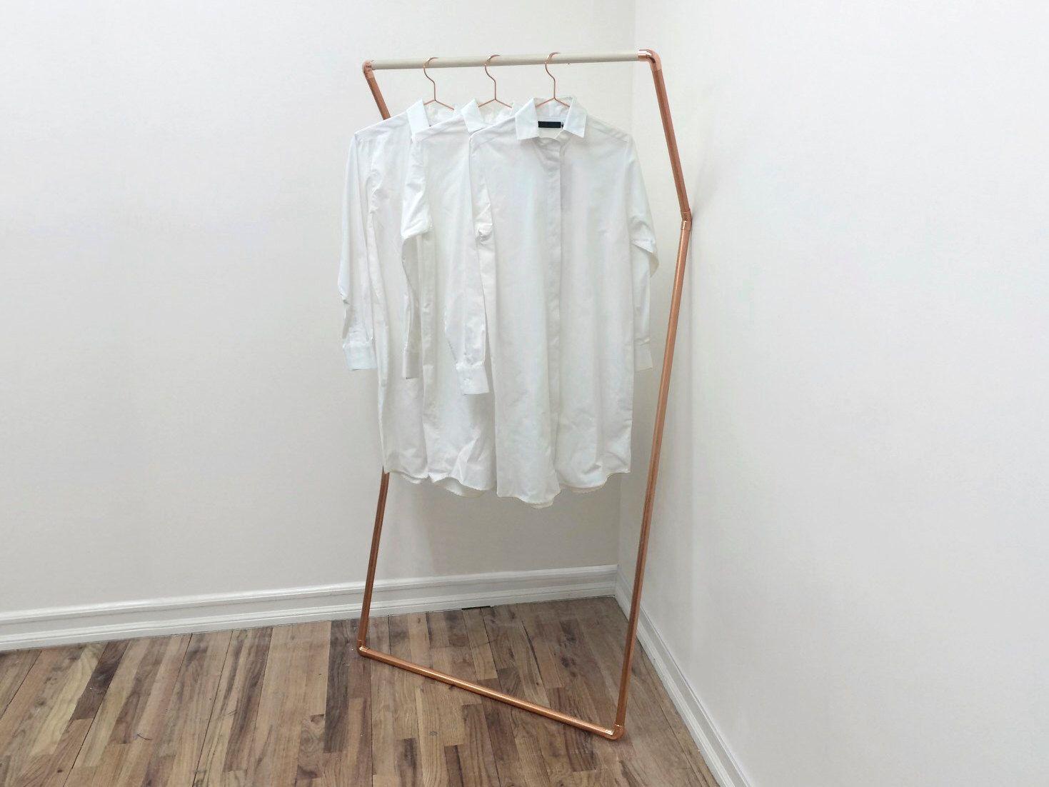 K rack u wall leaning clothing garment rack u copper and wood in