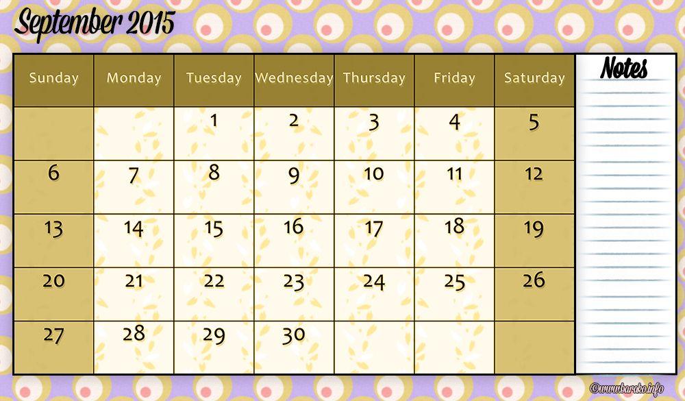 free printable september 2015 calendar pdf Printable Calendars