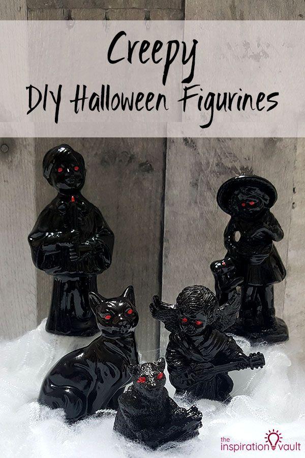 Creepy DIY Halloween Figurines #thriftstorefinds