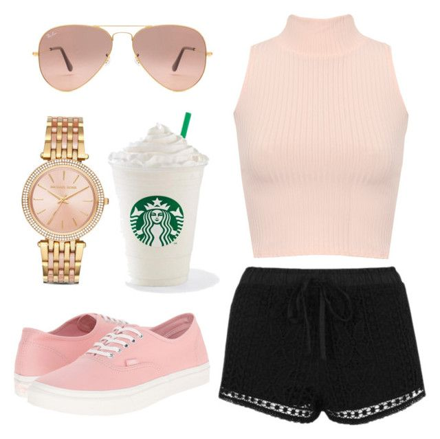 """""""walk in the park"""" by emily-2024099 ❤ liked on Polyvore featuring Topshop, WearAll, Vans, Ray-Ban, Michael Kors and starbies"""