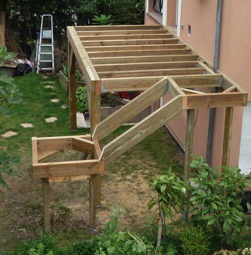 Terrasse sur pilotis en Teck, maison isolation par extérieur - Maison En Bois Sur Pilotis