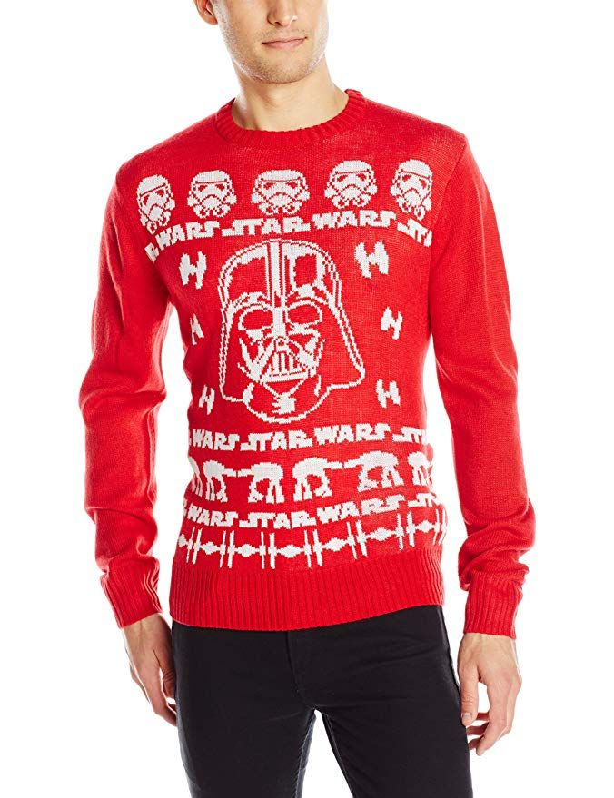 Star Wars Men\u0027s Sweater Wars Sweater, Red, Small CHRISTMAS