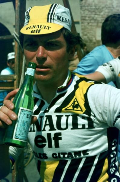 Bernard Hinault drinking San Pellegrino after a race. S.P. is my favorite  post-ride beverage! 971cf08f9