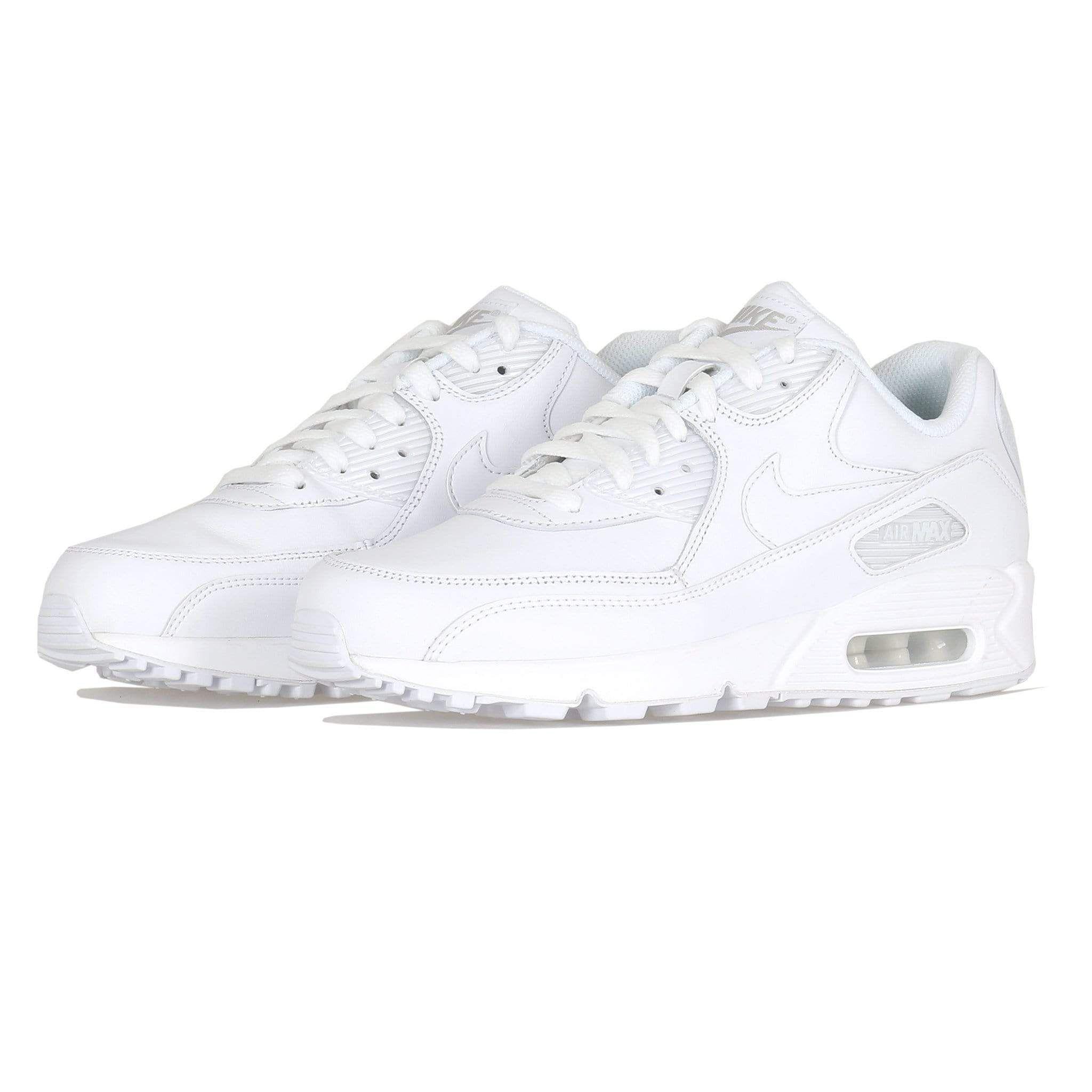 Nike Air Max 90 Leather Triple White UK 8.5   Air max 90