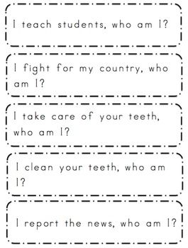 Free Community Helpers Sentences With Images Community Helpers