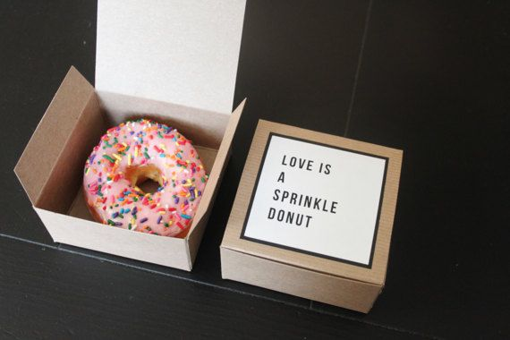 Dozen Donut Favor Boxes Single Kraft Donut Box Wedding Favor Custom Labels Love Is A Sprinkle Donut Funny Favor Sprinkle Donut Donut Box Funny Favors