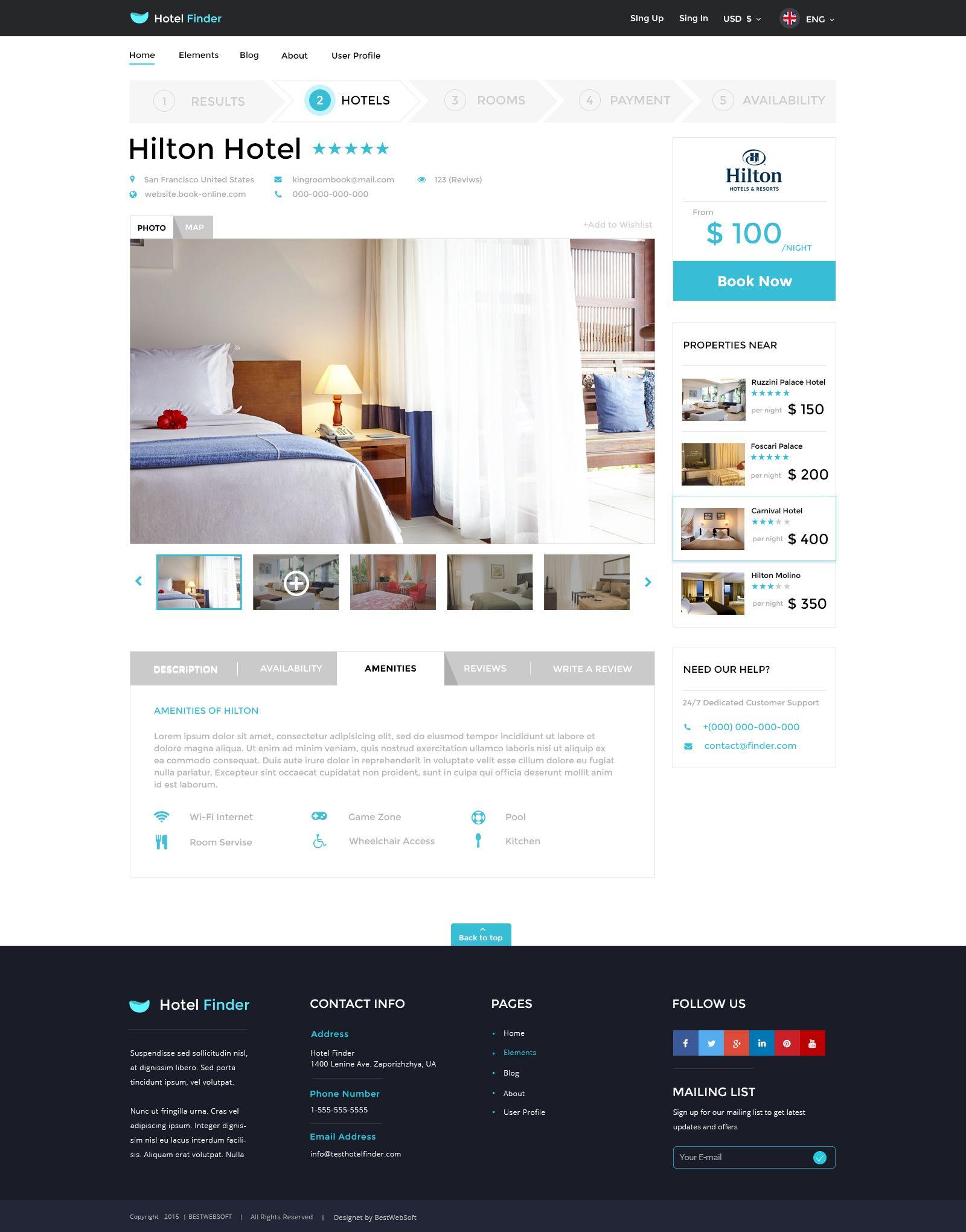 Hotel Finder line Booking HTML Website Template