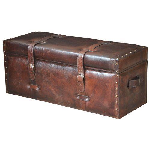Brown Laramie Leather Trunk Bench Storage Benches Accent U0026 Storage Benches  Accent Furnitu