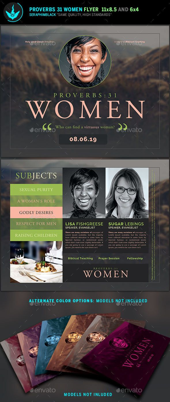 Proverbs 31 Women Church Flyer Template | Flyer template, Proverbs ...