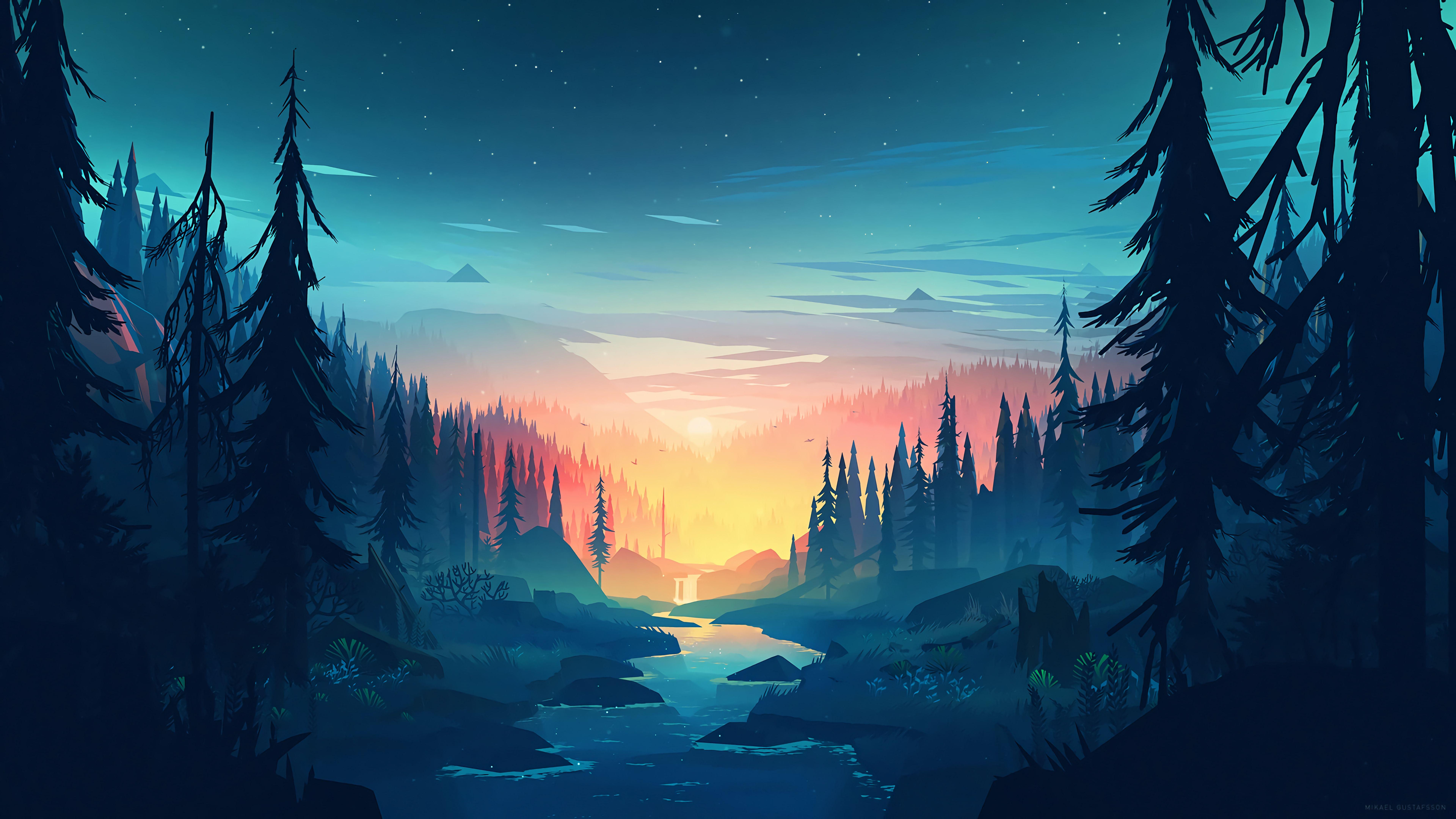 Minimalist Landscape Nature Sunrise River Mountains Trees 8k 2634 In 2020 Scenery Wallpaper Landscape Wallpaper Desktop Wallpaper Art