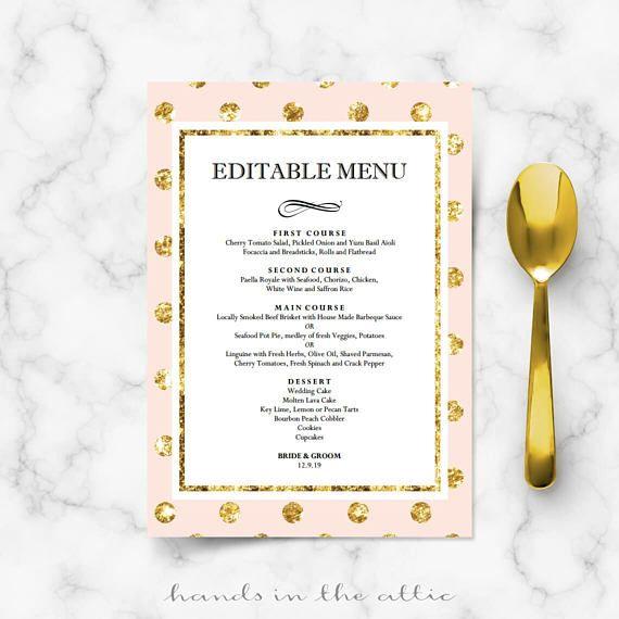 diy bridal shower menu cards for wedding reception engagement dinner buffet table pink blush gold