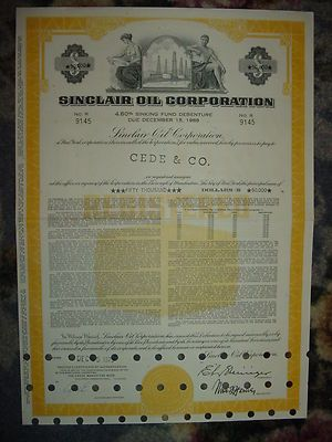 Sinclair Oil Corporation Bond Stock Certificate Gas Ebay Auto