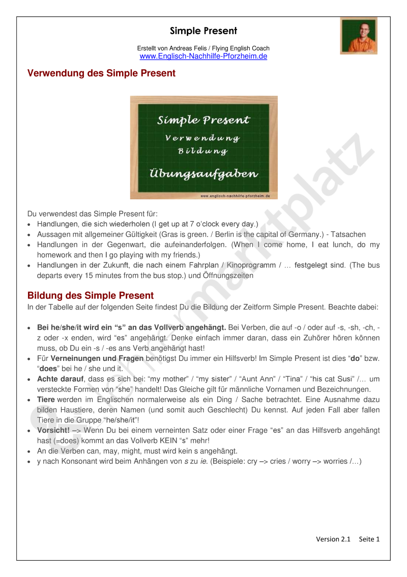 Simple Present - Arbeitsblätter mit Lösungen - PDF und Docx ...