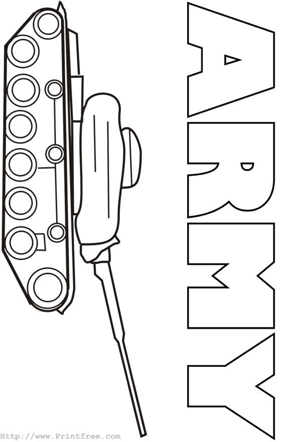 Army tank coloring page Kid Crafts Pinterest Cards and Craft