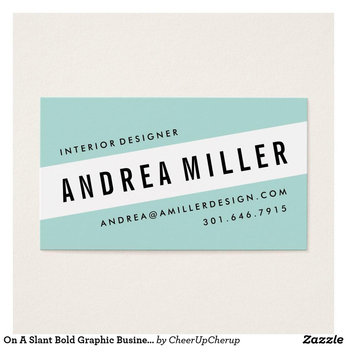 On A Slant Bold Graphic Business Card @zazzle #zazzle #businesscard ...