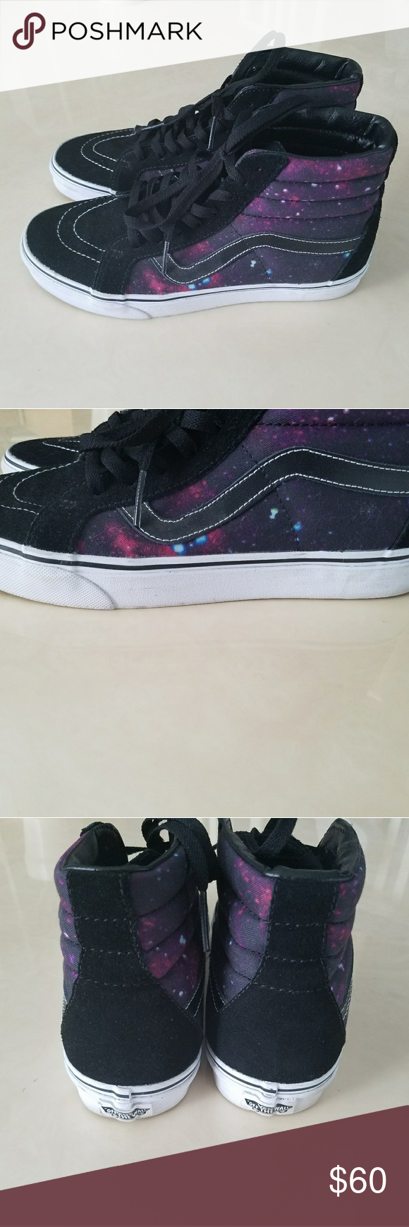 d9abfb22a9 Rare! Vans sk8 hi cosmic space galaxy shoe Mens 8 Like new