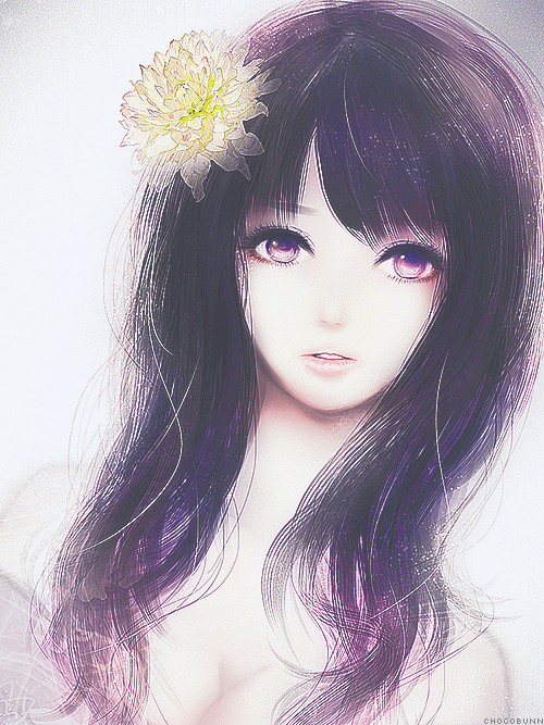 #tumblr #blackhair #anime black hair with yellow flower
