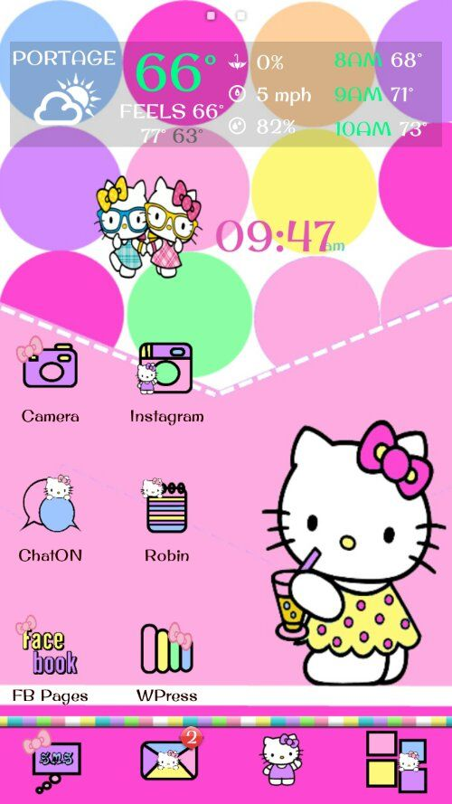 Hello Kitty Go Theme And Android Homescreen Hello Kitty Hello Kitty Themes Kitty