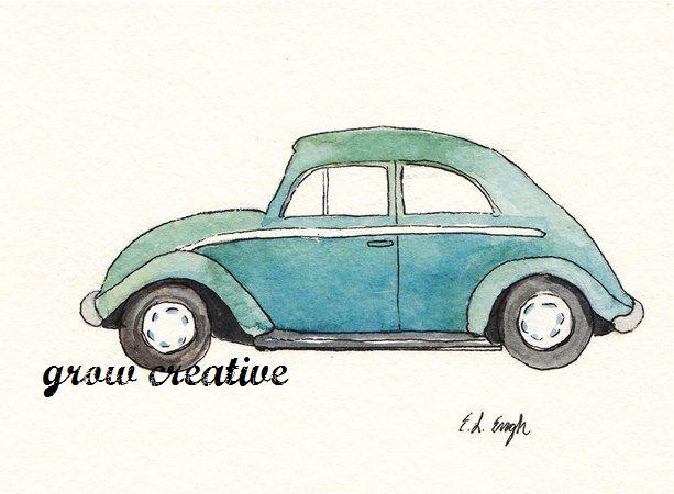 Watercolor Cars Car Illustration Car Art Original Watercolor