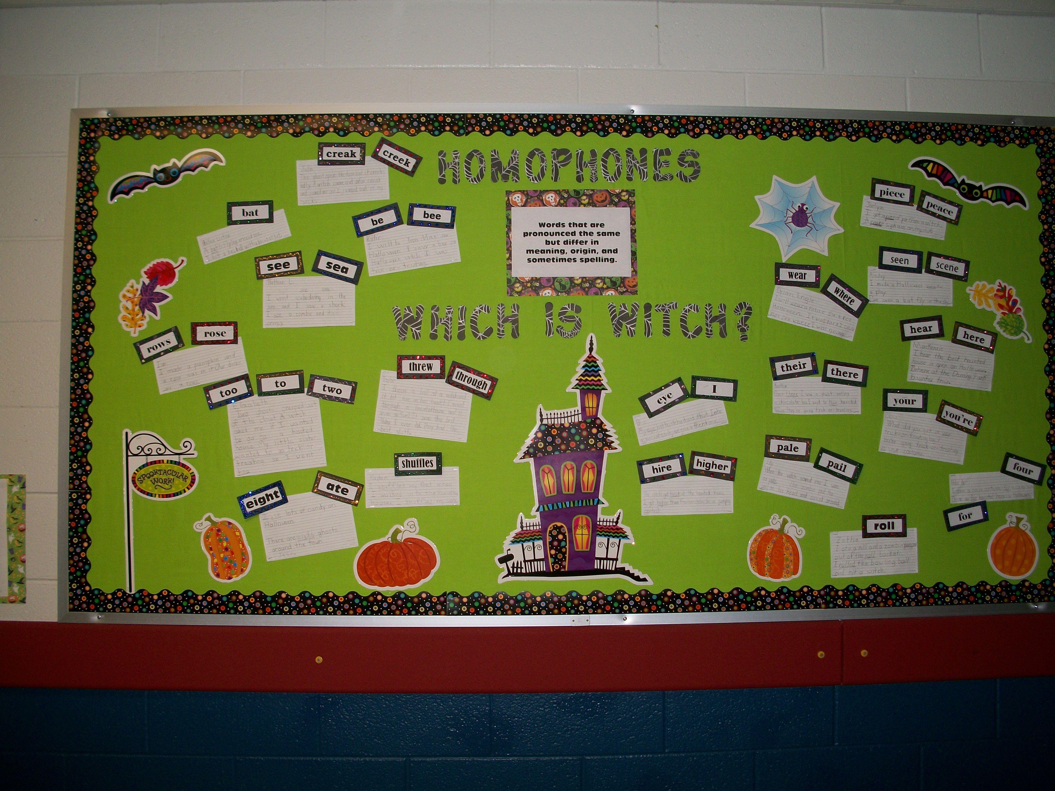 Homophones Bulletin Board Each Student Wrote 2 Sentences