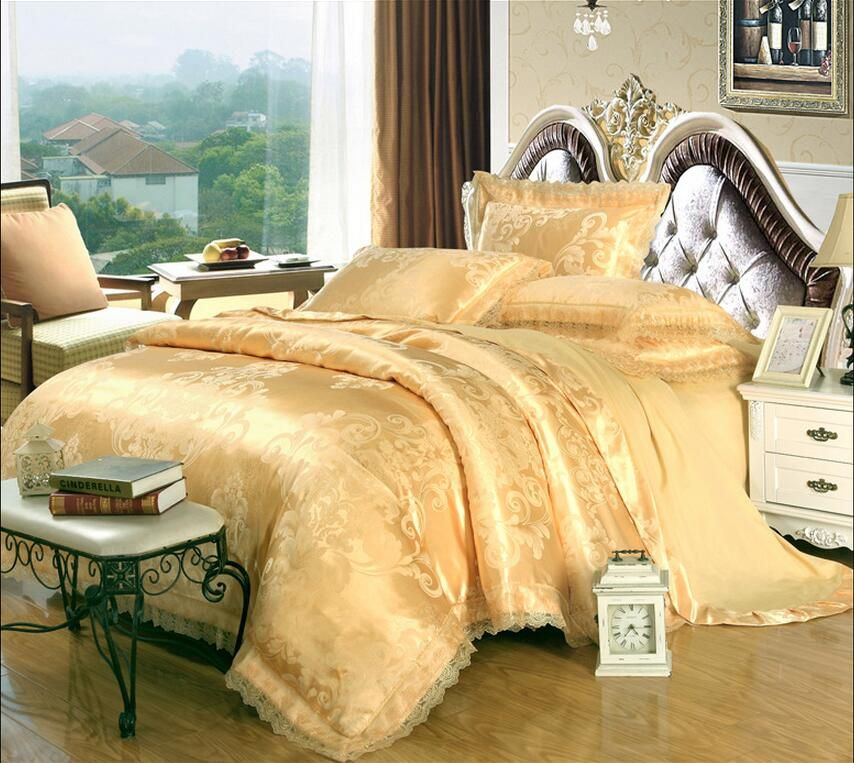 Luxury Jacquard Bedding Set King Queen Size 4pcs Bed Linen Silk Cotton  Duvet Cover Lace Satin Bed Sheet Set Pillowcases 22 HTB17KDMPXXXXXb  HTB17KDMPXXXXXb 4ec4e5e920