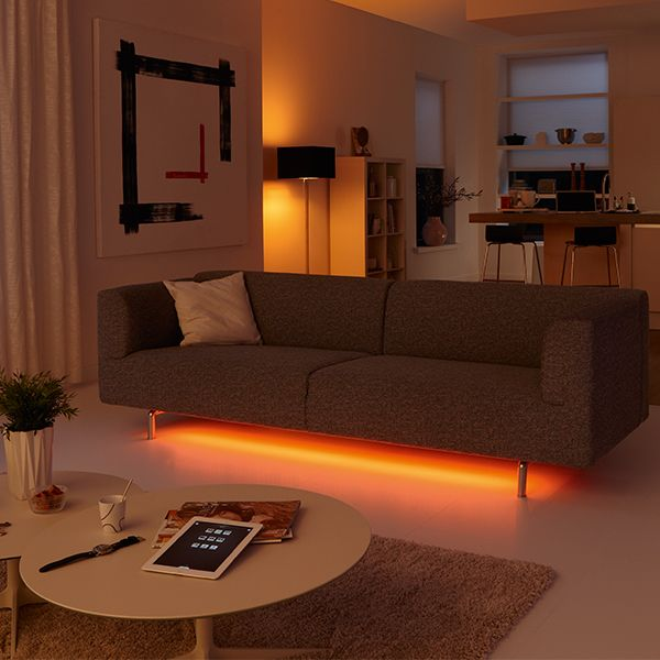 Turn Your Living Room Into A Lounge By Placing The Philips Hue Lightstrip Under Your Sofa Philipshue Smartlighting Livingroomlighting Livingroomideas In 2020 #philips #hue #living #room