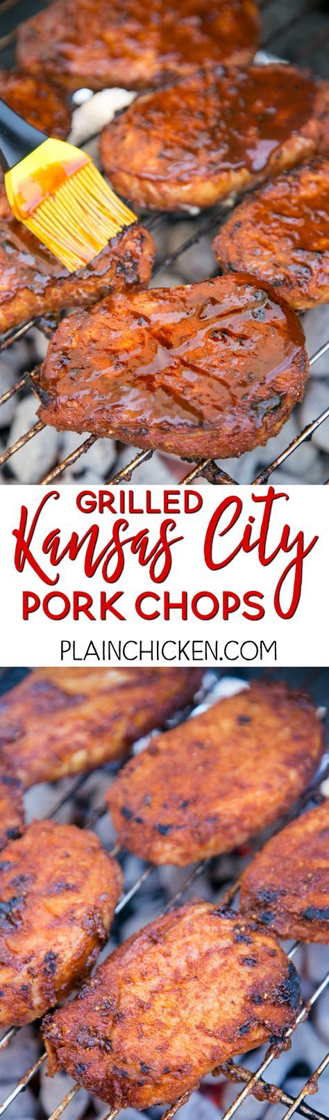Grilled Kansas City Pork Chops - THE BEST pork chops! Season pork chops with an easy dry rub and refrigerate until ready to grill. Brush with your favorite BBQ sauce before removing from grill! Pork chops, brown sugar, paprika, garlic powder, onion powder, chili powder, salt and pepper. We make these pork chops at least once a month. We LOVE this easy grilling recipe. #chickenbreastrecipeseasy