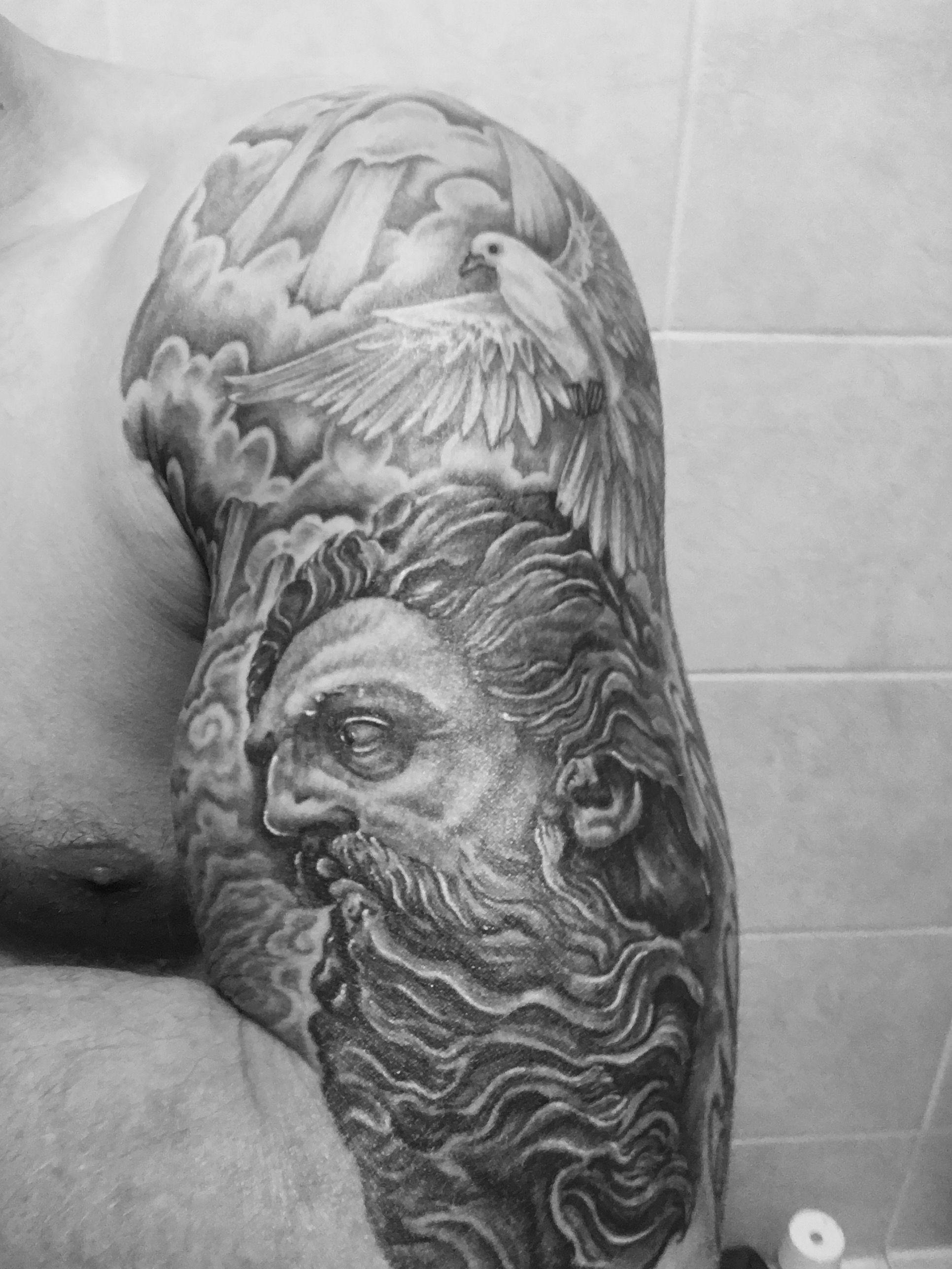 God Tattoo Zeus Half Sleeve Tattoo Dove Tattoo Cool Tattoos