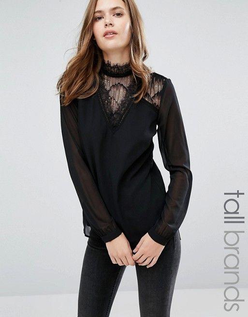 9cdfd91c573f51 Vero Moda Tall   Vero Moda Tall Lace Insert Blouse High Neck Lace Top, High