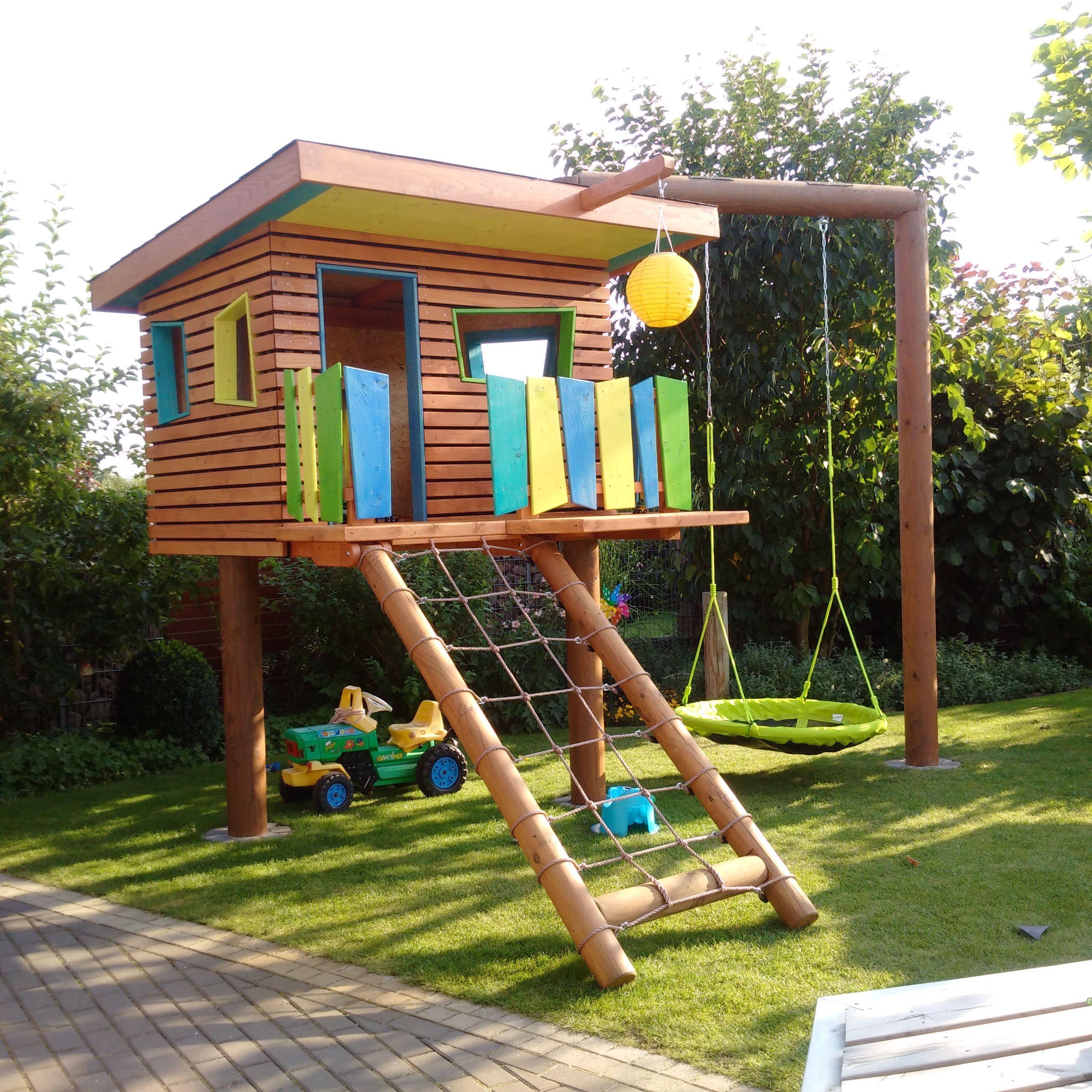 Best Of Spielturm Mit Schaukel Und Rutsche Selber Bauen Diy Playground Backyard For Kids Backyard Playground