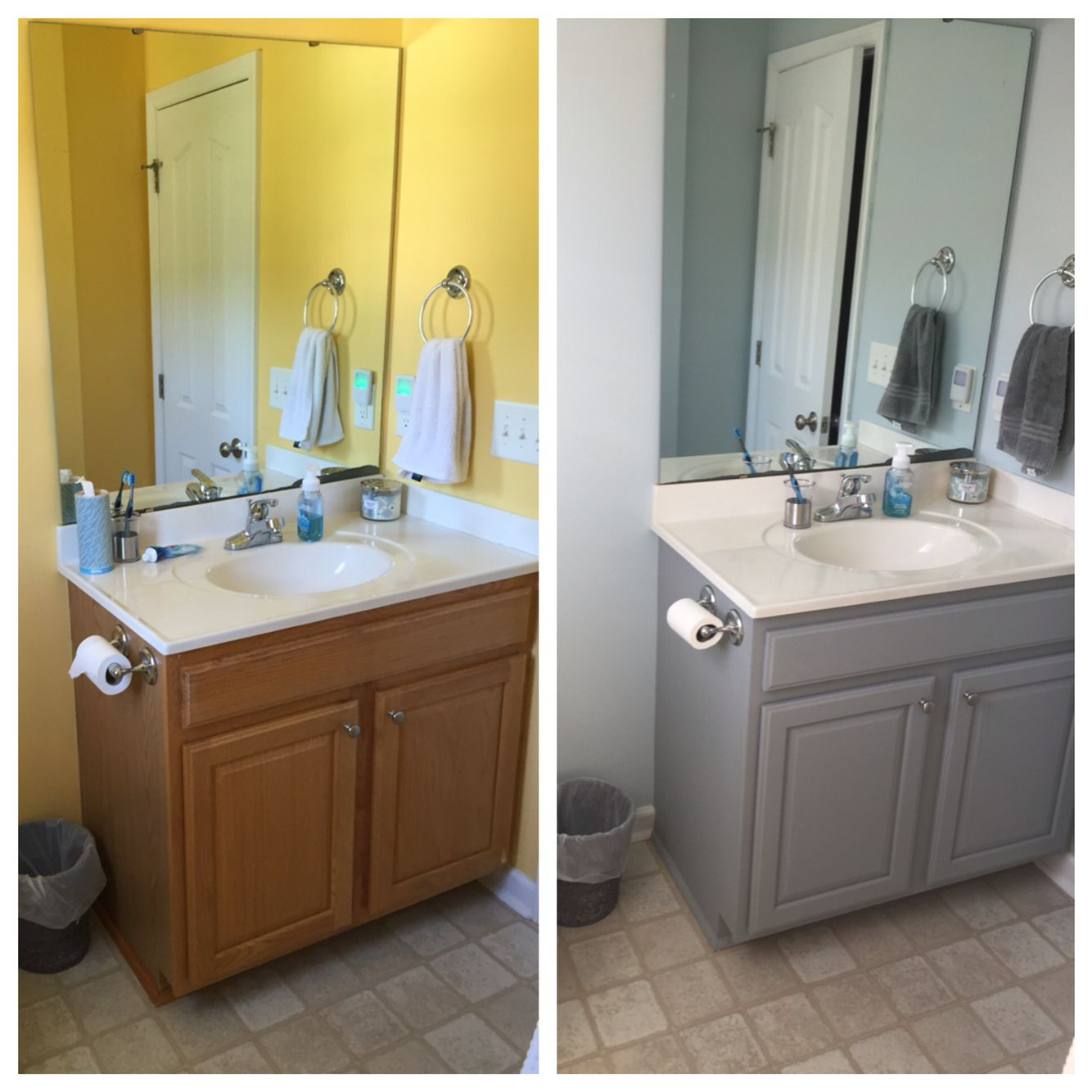 Before and after bathroom cabinet valspar chalky paint in for Valspar kitchen and bath paint