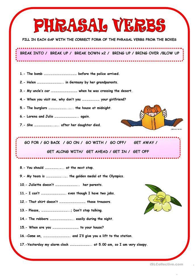 PHRASAL VERBS Verb Worksheets, Verb, English Grammar Worksheets