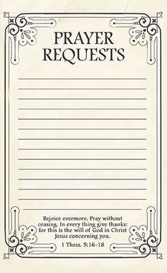 Good Free Printable Prayer Request Forms