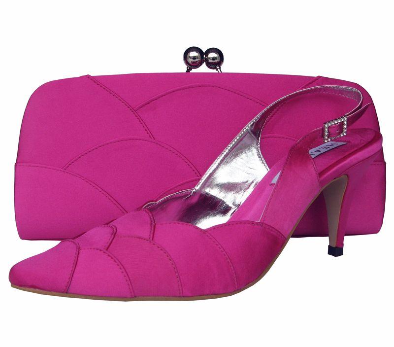 Fuchsia Pink Ladies Shoes Sole Divas Shoes And Bags Set Evening Shoes Shoes