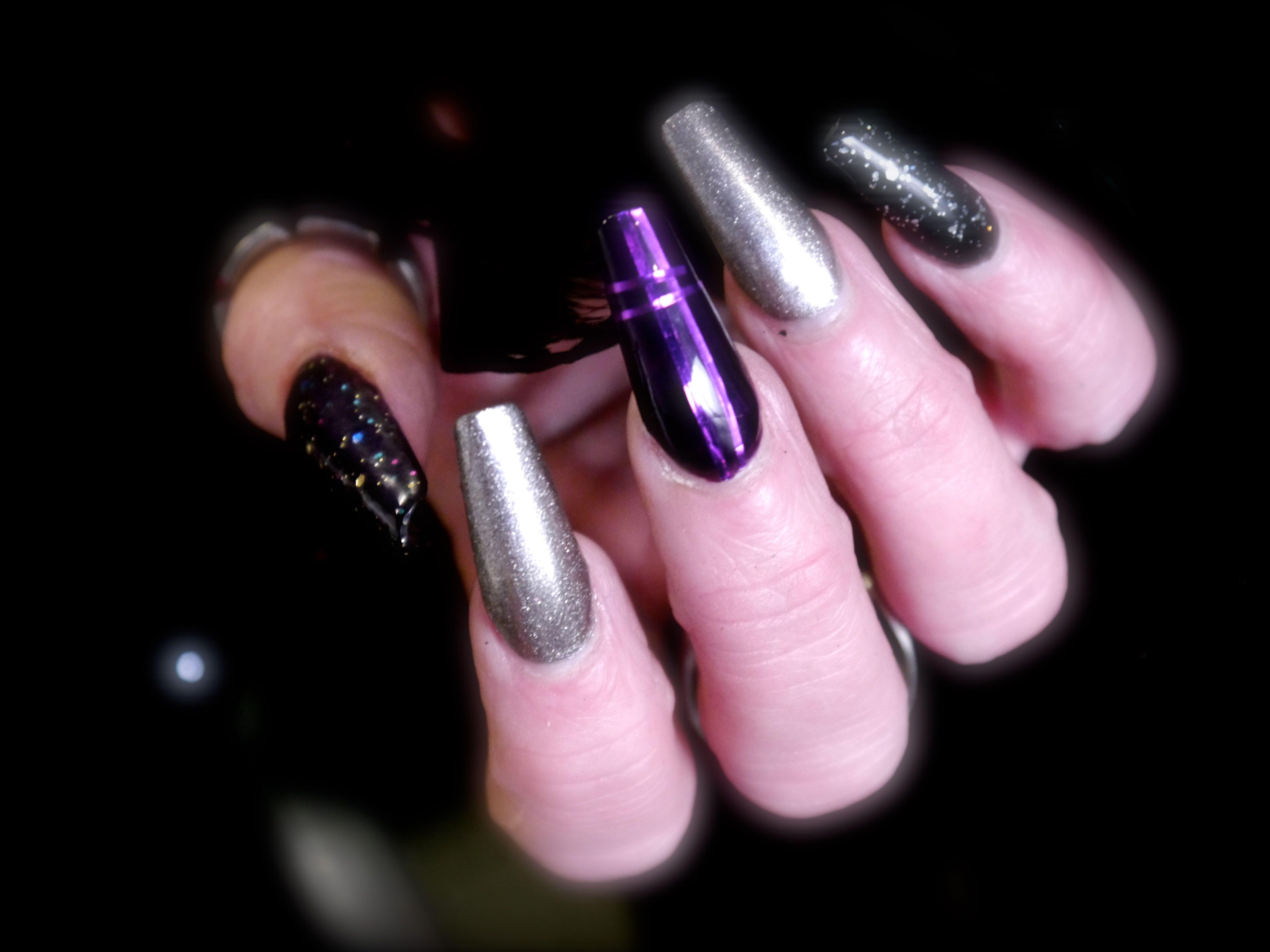 Purple Nails Acrylic Silver Christmas Prom