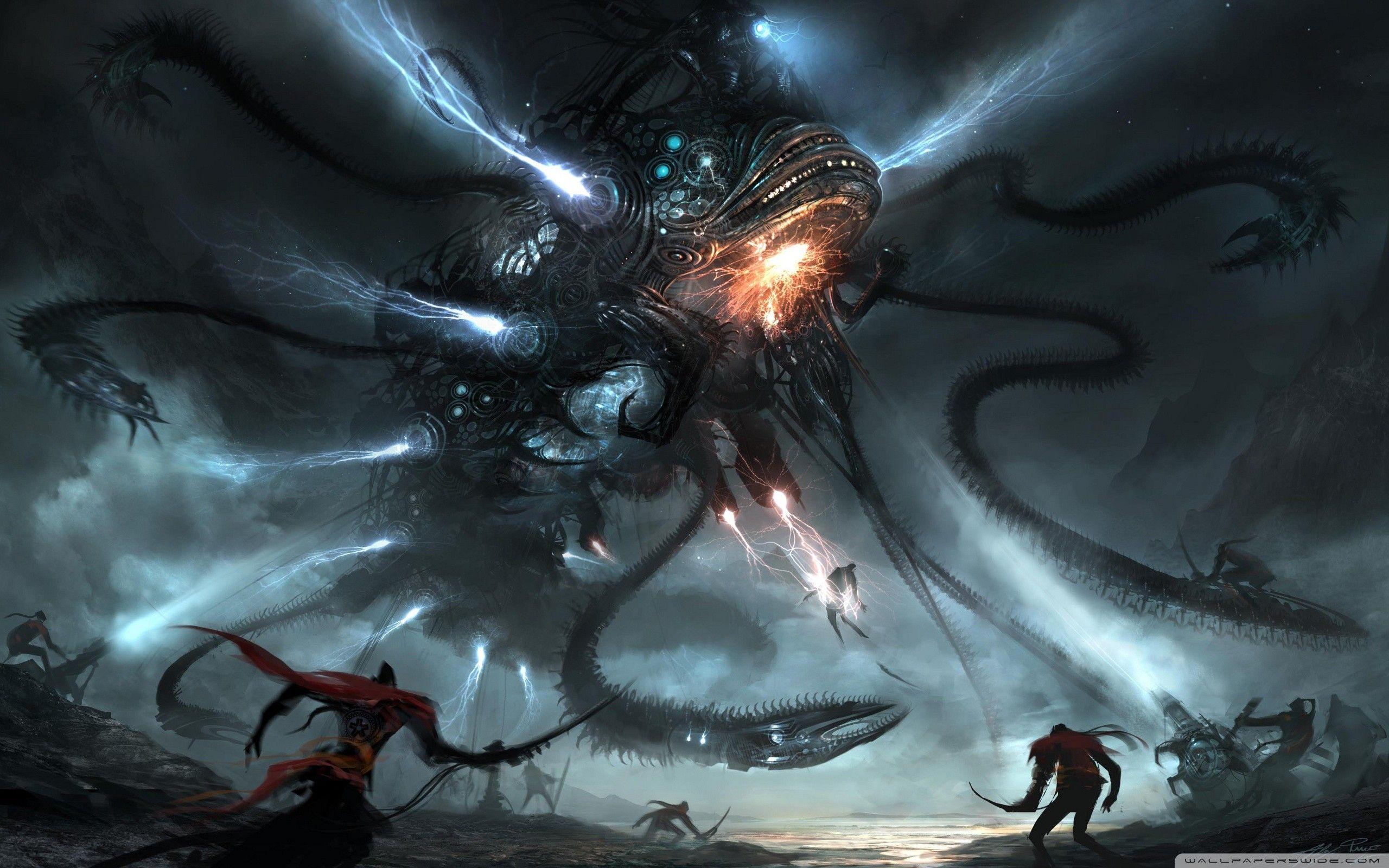 Alien Space Battle Wallpaper Jpg 2560 1600 Dark Fantasy Art Fantasy Art Art