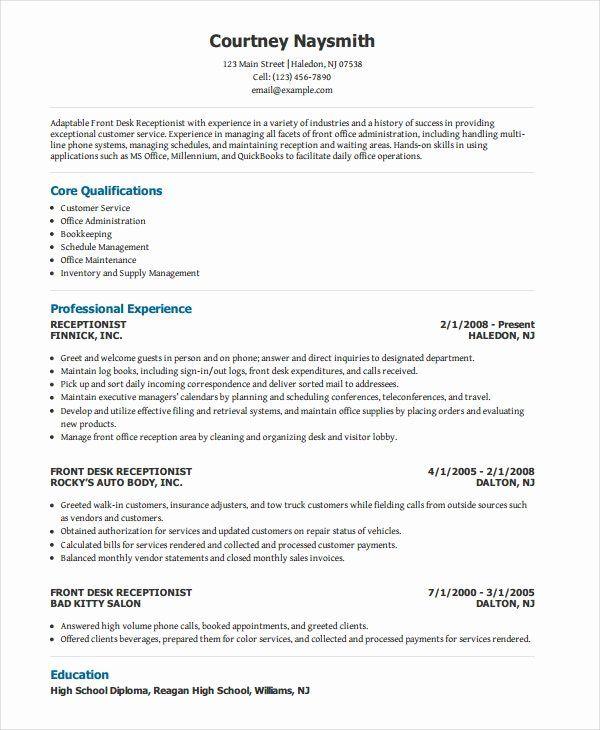 Front Desk Receptionist Resume Sample Beautiful Receptionist Resume Template 8 Free Word Pdf Document Job Resume Samples Resume Examples Medical Receptionist
