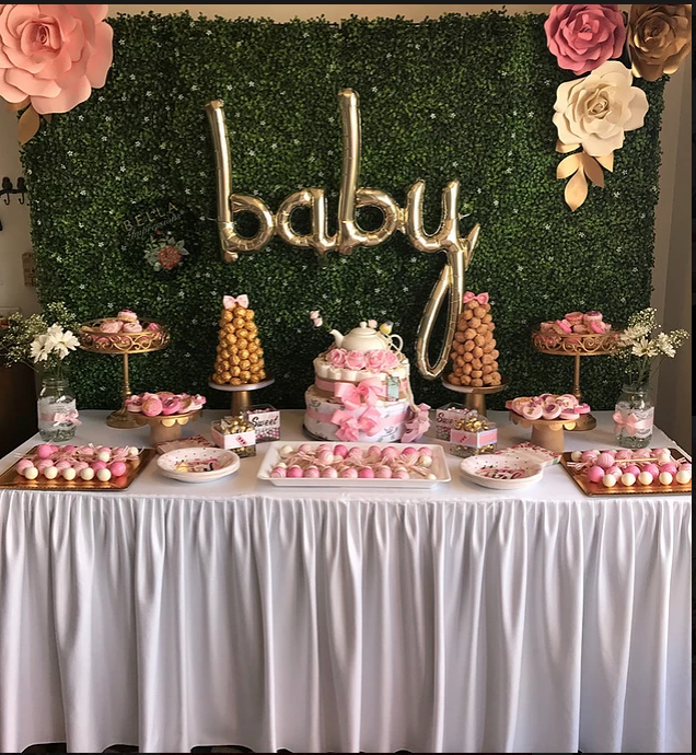 Hedge Wall Balloon Backdrop Paper Flowers Dessert Table Styling Dessert Towers Donut Towe Baby Shower Candy Table Flower Backdrop Paper Flower Backdrop