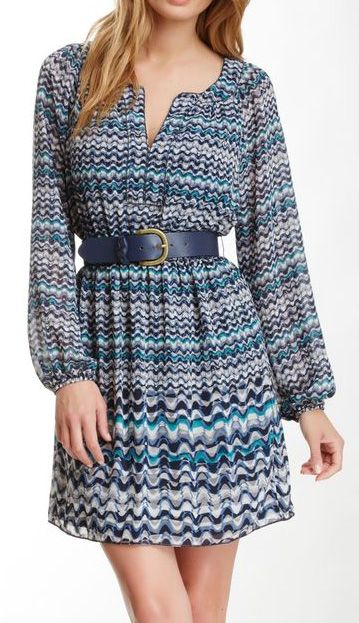 Max Studio Printed Belted Dress