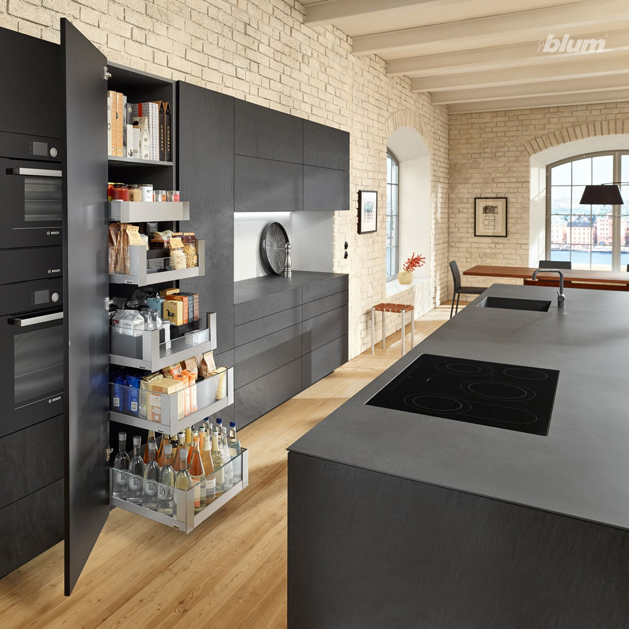 Black Kitchen Island With Handle Less Kitchen Cabinetry And Soft Closing Drawers Design Your Kitchen Kitchen Layout Buy Kitchen Cabinets