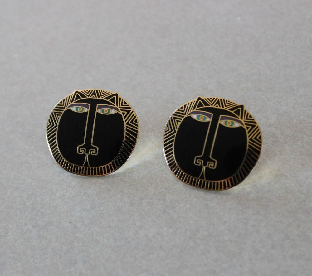 """Laurel Burch """"Moon Tiger"""" Vintage Pierced Earrings Black/Gold 1986 #LaurelBurch #Stud"""