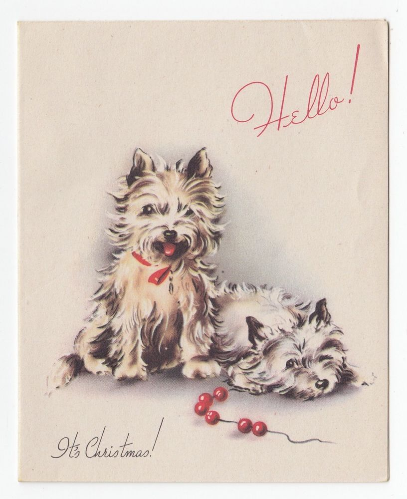Vintage Greeting Card Christmas Dog Puppy Terrier Hello 1940s